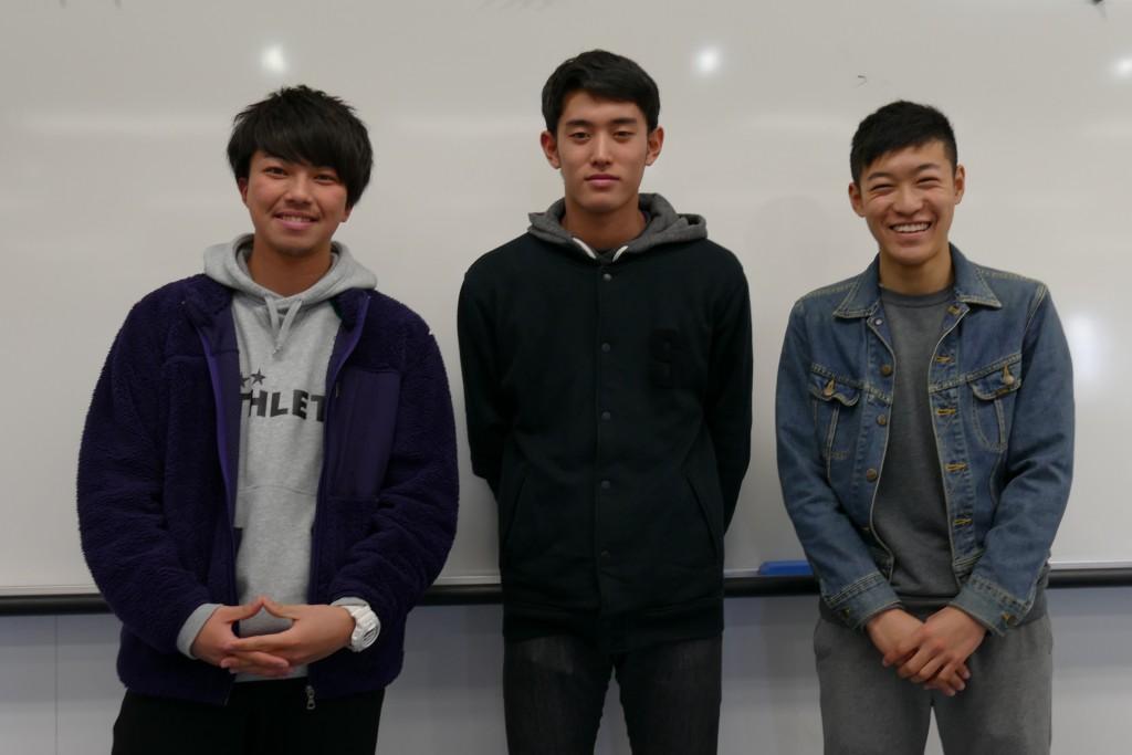 左から金須選手、山中選手、石田選手